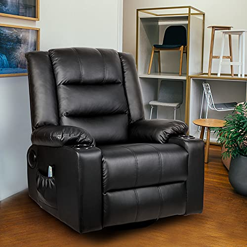 ComHoma Leather Recliner Chair Rocking 360 Swivel Recliner Chair with Heated Massage Drink Holders Living Room Chair Black
