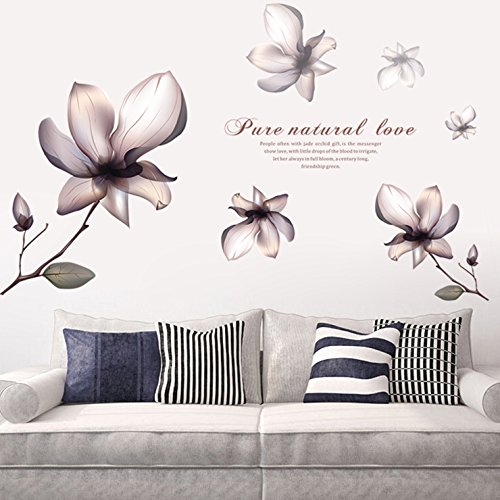S.Twl.E Adhesivos de Pared Arte Mural Decoración Romántica Impermeable Extraíble Flor Magnolia vinilos Adhesivos Acogedor Salón Dormitorio Cama de Matrimonio Habitación Decoración de Fondo Carteles