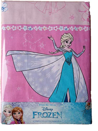 Frozen Completo Lenzuola Rosa 3pz per Letto Singolo Lenzuola sopra+sotto con Angoli+ Federa 100% Cotone