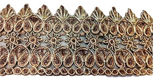 Glitzer Bordüre Sari Borte Blumen Spitze Stoff Stickerei breit für Kleider farbig zum nähen Farbvarianten (10 cm Breite Gold)