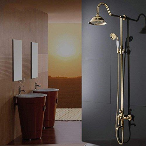 DSJ doucheset badkamer douche set in Europese stijl douche set koper hete en koude douche kraan onder druk regen, goud