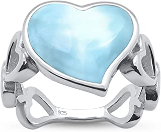 Oxford Diamond Co Sterling Silver Round Natural Larimar Ring Sizes 5-10