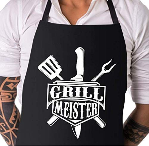 Elani BBQ Schort | Grill Meister | BBQ Schort voor mannen | zwart unisex