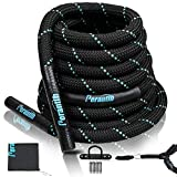"Perantlb 100% Poly Dacron Heavy Battle Rope - 1.5' Diameter, 30"" 40""50""Lengths - Black Workout Rope - Gym Muscle Toning Metabolic Workout Fitness - Battle Rope Anchor Included (1.5' x 40 ft)"