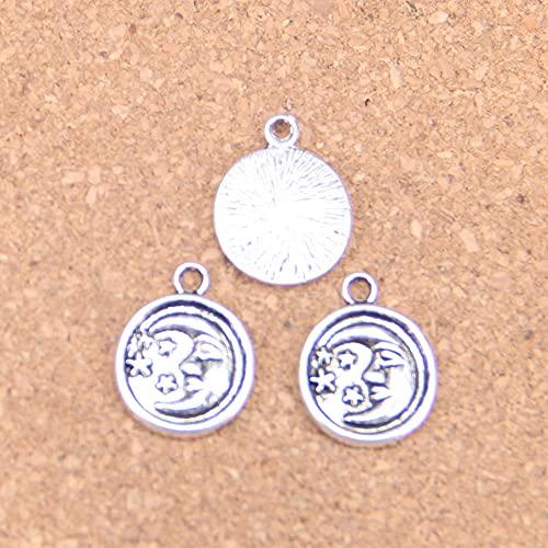 WANM Colgante 14 Uds Círculo Luna Estrella Encantos 19X15Mm Colgantes Antiguos De Época DIY Joyería De Plata Tibetana para Collar De Pulsera