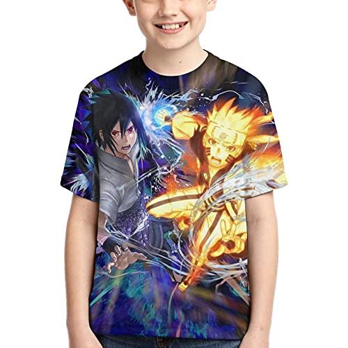 Camiseta de Naruto Camiseta de Anime para Niños Camiseta Estampada con Gráficos en 3D Cool Anime Manga Corta para Adolescentes Niños (M)