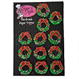 Christmas Cupcake toppers- Edible Icing Cake Cupcake Decoration by BakersDozenToGo (Christmas Wreath...