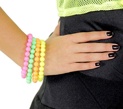 Foxxeo 80er Jahre Neon Armbänder - 4er Set - pink gelb grün orange - Accessoires Schmuck Perlen Armband zum Bad Taste Kostüm
