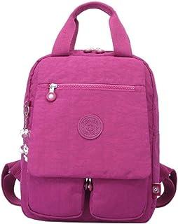 Fresh wild simple fashion Lightweight Nylon Backpack Multi-Pocket School Bag Waterproof Shoulder Bag (Color : Fuchsia, Siz...
