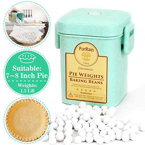 Pie Crust Weights, Ceramic Pie Weights 10mm Baking Beans with Wheat Straw Container for Blind Baking Pastry (1.2 LB/540G)