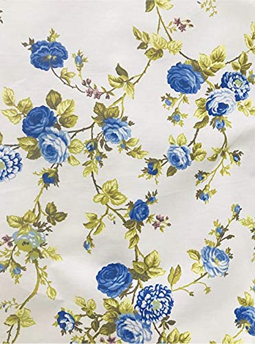"Vintage Floral Print Poly Cotton Fabric by The Yard, 58""/60"" (Blue/White Background)"