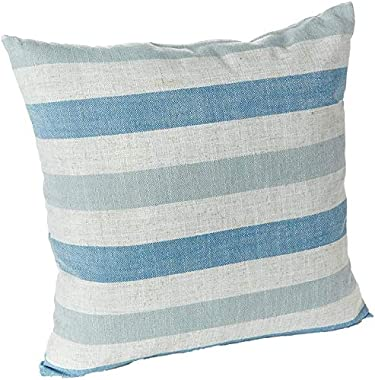 "Klear Vu Liza Coastal Linen Decorative Throw Pillow, 18"" x 18"", Set of 2, 17 x 15.75, Stripe Blue"