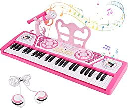 M SANMERSEN Kids Piano Keyboard 49 Keys, Electronic Toy Keyboard Piano with Microphone & Headphone for Beginners Multifunctional Musical Instruments Learning Keyboard Piano Kid Gifts for Girls, Pink