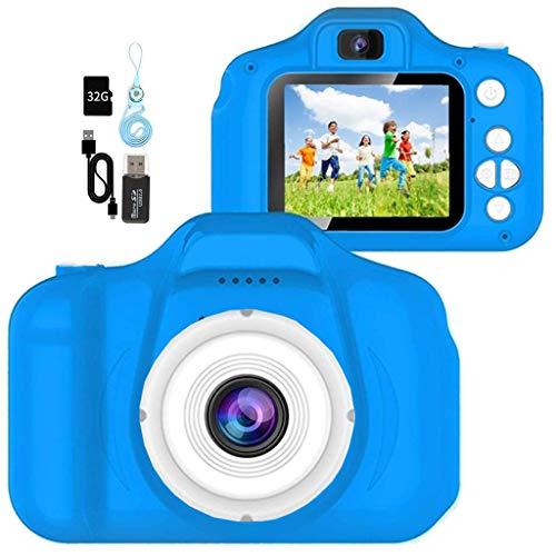 YunLone Cámara para Niños 12MP Selfie Cámara Digital 1080P HD Video Cámara Infantil 32GB TF Tarjeta, Estuche de Transporte, Batería Recargable 1200 mAh,2 Pulgadas, Regalos Juguete - Azul Marino