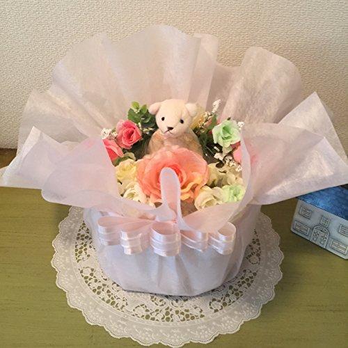 おむつケーキ フラワーアレンジ風 ピンク)出産祝い 女の子用 結婚祝 (パンパースはじめての肌へのいちばんMサイズサイズ)