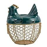 Faderr Cesta de almacenamiento de huevos con tapa, organizador de almacenamiento de acero inoxidable, bonito soporte de gran capacidad, para guardar cestas decorativas de cocina (verde)