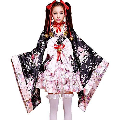 fagginakss Frauen Cosplay Lolita Kostüm japanische Kimono Anime Kostüme,6 Set- Flower Sakura Druck Kimono Robe Yukata japanischen Kleid, Nette Frauen Anime Cosplay Französisch Maid Schürze Kostüm