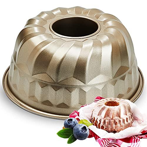 OJelay Fluted Cake Pan 8 Inch | Nonstick Easy Release Savarin Kugelhopf Mold Tube Pound Cake Pan