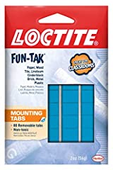 80 removable non-toxic tabs Pre-cut Loctite saves money with less waste For use with paper, wood, tile, linoleum, cinderblock, brick, metal, plastic, mirrors, and glass Can hold up to 1 lb Multiple uses in home and office