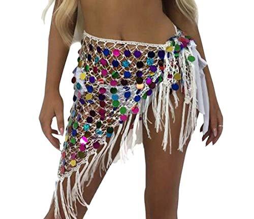 ShuangRun Vrouwen Flowy Net Hollow Out Haak Driehoek Bikini Badpak Cover Up Wikkel Sjaal Wit M