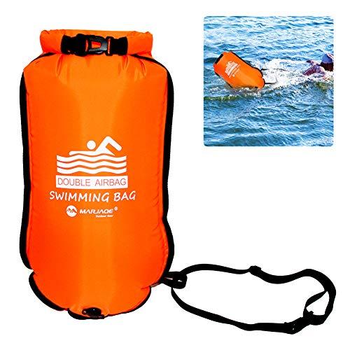 Boya de natación y Saco seco Hinchable, 20 l PVC Flotante Swim Bubble para Open Water Float Float Sumshy, 1 Unidad Naranja, 36 * 70cm