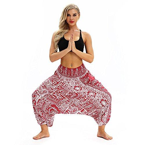 IFOUNDYOU Damen Pumphose Haremshose Pluderhose Hose Aladinhose Frauen beiläufige lose Yoga Hosen Baggy Boho Aladdin Jumpsuit Pluderhosen