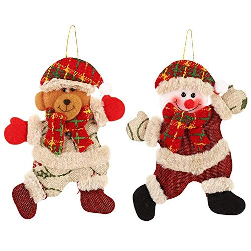 Huders Christmas Plush Ornaments Christmas Tree Ornaments, Xmas Hanging Decoration Santa Clause Snowman Reindeer Doll for Christmas Tree Pendant Toy Doll Hang Decorations (2 Pack)