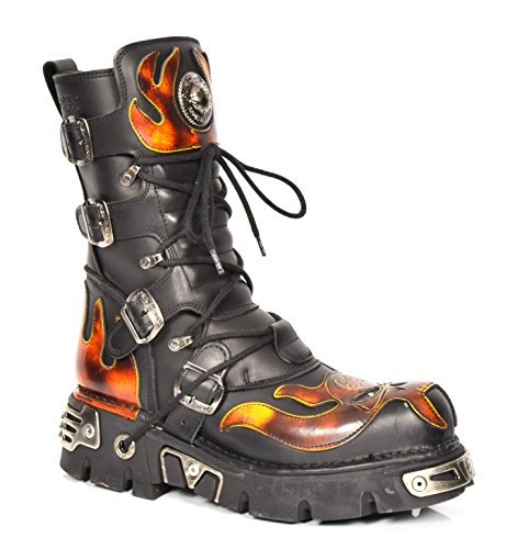 New Rock Leder Knöchel Stiefel Schnürsenkel Flammen Entwurf Schuhe Gothic Retro Stil Schwarz (EU 39)