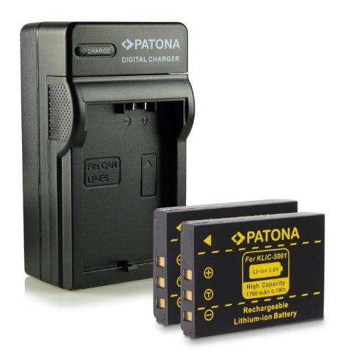 Bundle - 4en1 Cargador + 2x Batería Klic-5001 para Kodak Easyshare DX6490 | DX7440 | DX7590 | DX7630 | P712 | P850 | P880 | Z730 | Z760 | Z7590