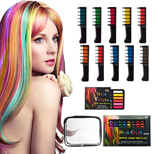 23Pcs 12 Colors Hair Color Chalk Comb Set, Gifts for 3 4 5 6 7 8 9 10 Year Old Girl, Washable Bright Hair Chalk Combs Temporary Hair Color for Birthday Christmas Cosplay Party Gift for Girls Kids