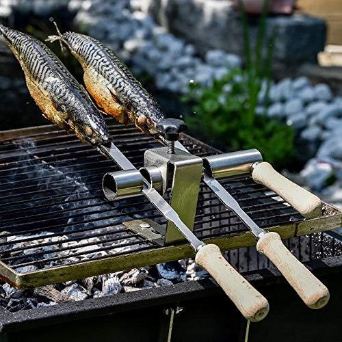 Steckerlfisch Halter 2 Fische, Edelstahl Spieß, für Gas- & Kohlegrills
