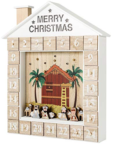 BRUBAKER Reusable Wooden Advent Calendar to Fill - Bible Story Crib with LED Lighting - DIY Christmas Calendar 12.40 x 15.04 x 2.48 inches