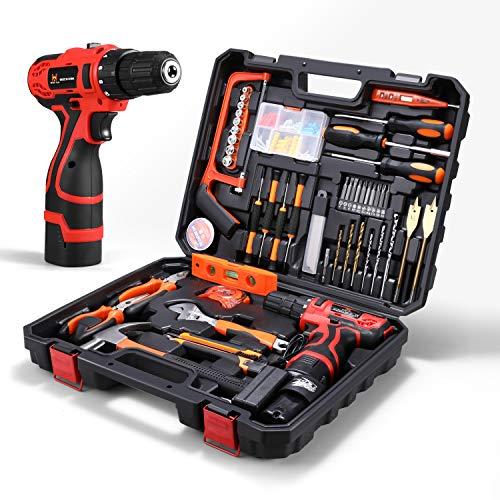 HOH-Tech 16.8V Cordless Drill Driver Tool Kit, Power Tools Combo Kit 60-Piece Household Tool Kit Set