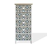 rebecca mobili cassettiera salvaspazio, mobile bagno 5 cassetti, legno chiaro bianco blu, stampe maioliche, per camera soggiorno - misure: 93 x 40 x 30 cm (hxlxp) - art. re6498