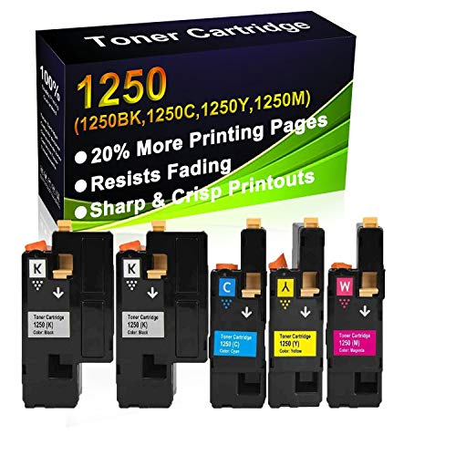 5-Pack (2BK+C+Y+M) Compatible High Yield 1250BK 1250C 1250Y 1250M Printer Toner Cartridge use for Dell 1250c 1350cnw 1355cn 1355cnw c1760nw c1765nf c1765nfw Printers