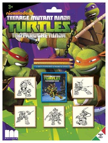 Multiprint Blister 5 Stempel für Kinder Ninja Turtles, 100% Made in Italy, Benutzerdefinierte Stempelset Kinder, in Holz und Naturkautschuk, Ungiftige Waschbare Tinte, Geschenkidee, Art.05884