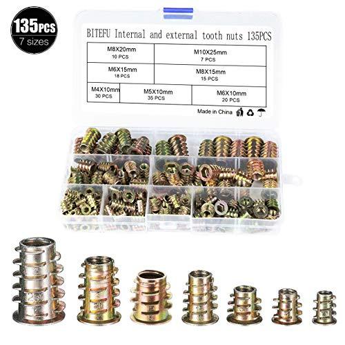 BITEFU 135 Stücke Einschraubmutter M4 M5 M6 M8 M10 Eindrehmuffen,Hex Gewindeeinsatz Antriebsmutter Sortiment Werkzeug Kit für Holz Möbel