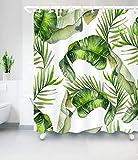 Aitsite Duschvorhänge Duschvorhang Grüne Bananenblätter Anti-Schimmel, Anti-Bakteriell, Waschbar Badewanne Vorhang Polyester Stoff mit 12 Duschvorhangringen 180x180 cm