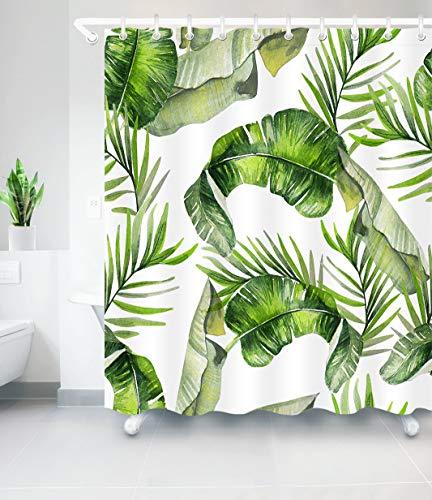Aitsite 2020 Neueste Duschvorhänge Duschvorhang Mit Haken Grüne Bananenblätter Wasserdicht Bad Vorhang Waschbar Bad Vorhang Polyester Stoff mit 12 Haken 180x180 cm