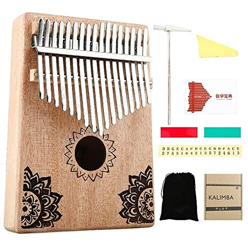 Kalimba, Daumenklavier 17 Keys Kalimba Afrikanische Massivholz-Daumen-Finger-Tastatur-Klavier Sanza Mbira Calimba Wiedergabe mit Gitarre Holz Musikinstrumente (Color : Mahogany Color)