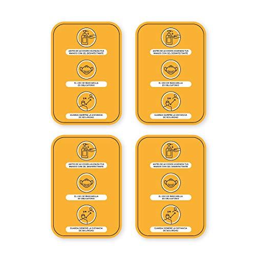Pack 4 Vinilos Medidas y Normas de Seguridad - A4   Adhesivo