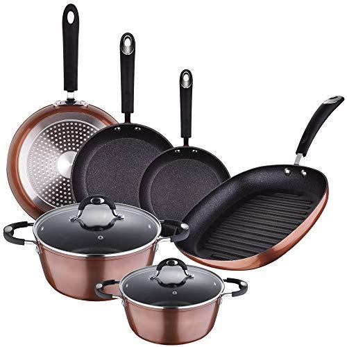 San Ignacio Batería cocina SIP color cobre - sartenes Ø20/24/28 + Grill 28 + Ollas Ø20/Ø24 cms, aluminio forjado, mango revestido con silicona atérmica, inducción