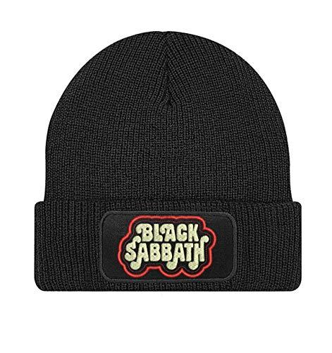 Black Sabbath Punk Heavy Metal, Doom Metal, Hard Rock Band Bestickte Logo Beanie Strickmutze - STICK194 - SCHWARZ