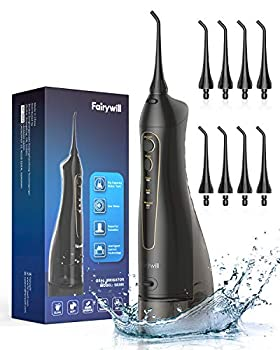 Water Flosser Professional Cordless Dental Oral Irrigator 300ML Portable Water Tank and Rechargeable No adapter IPX7 Waterproof 3 Modes and 8 Jet Tips Water Flosser for Braces & Bridges Care Home