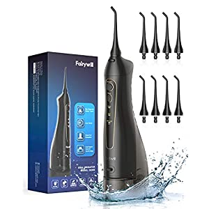 Water Flosser, 3 Modes and 8 Jet Tips, IPX7 Waterproof, USB Charged for 3-weeks Continuously Use, Water Pick Teeth Cleaner for Travel,