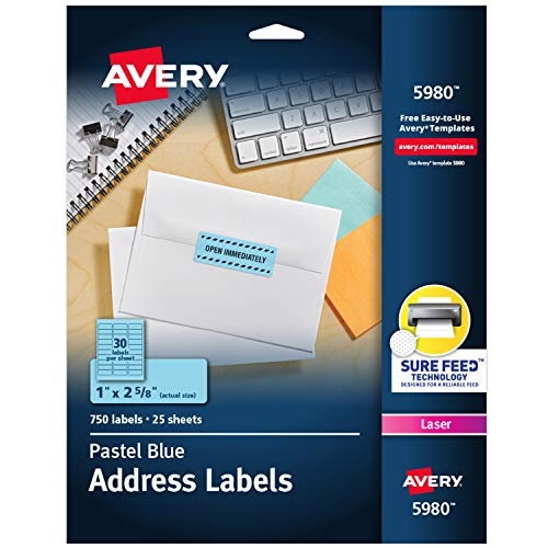 """Avery Neon Address Labels with Sure Feed for Laser Printers, 1"""" x 2 5/8"""", 750 Pastel Blue Labels (5980)"""