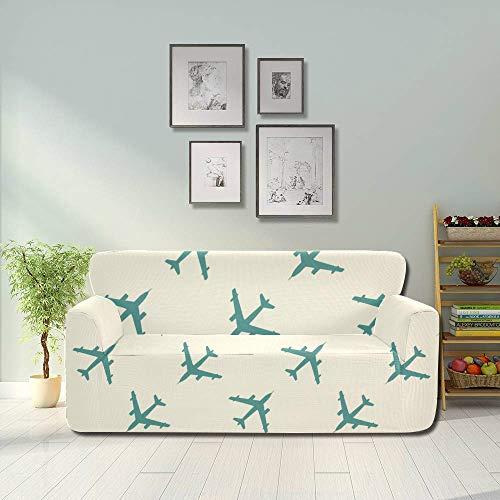 AQQA Funda de sofá Universal de avión Lindo Creativo de Dibujos Animados Coloridos Funda Protectora de Muebles Ajustada para Muebles elásticos 2