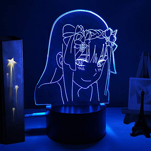 Zero Two Figure Sailor Moon 3d Anime Lamp Nightlight Kids Child Girls Bedroom Manga Gift Night Light Lamp Darling In The Franxx (16 color with remote,E)