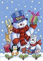 Diamonds Cross Stitch 5D ダイヤモンド絵画キット 大人 子供用 素晴らしいクリスマス 雪だるま 動物ギフト フルドリル DIY ダイヤモンドアート クリスタルラインストーンペイント (雪だるま)