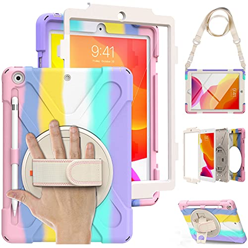 Case for iPad 8th/7th Generation 10.2 inch 2020/2019, iPad Case with Screen Protector for Kids, Shockproof Heavy Duty Rugged Cover, Kickstand Carrying & Hand Strap Pencil Holder Bumper - Rainbow Pink